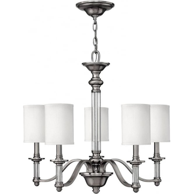 Hinkley Sus 5 Light Ceiling Chandelier In Brushed Nickel Finish And White Fabric Shades