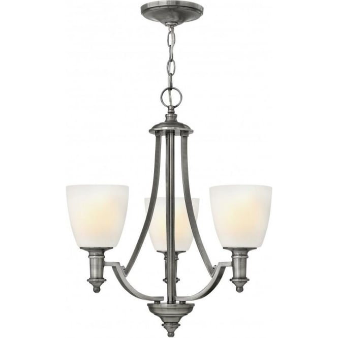 Hinkley Truman 3 Light Chandelier Style Ceiling Fitting In Antique Nickel Finish