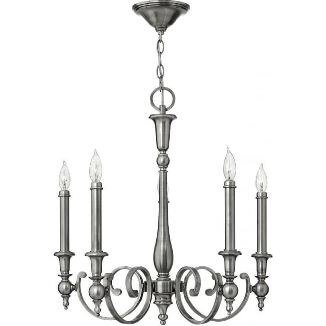 Hinkley Yorktown 5 Light Chandelier Style Ceiling Fitting In Antique Nickel Finish