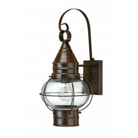 HK/CAPECOD2/M Hinkley Cape Cod Large Solid Brass Single Light Outdoor Wall Lantern in a Sienna Bronze Finish