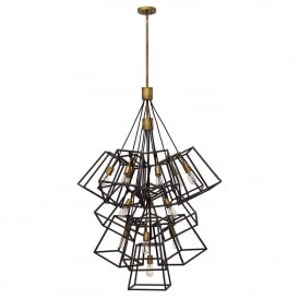 HK/FULTON/13P Fulton 13 Light Large Ceiling Chandelier In Bronze Finish