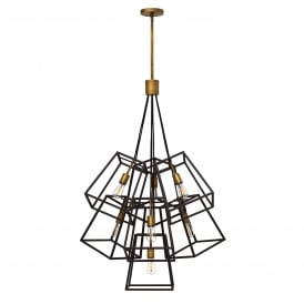 HK/FULTON/7P Fulton 7 Light Ceiling Chandelier in Bronze Finish