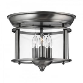 HK/GENTRY/F PW Hinkley Gentry 3 Light Flush Ceiling Fitting In Pewter Finish
