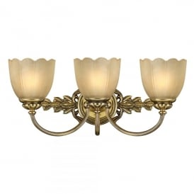 HK/ISABELA3 BATH Isabella 3 Halogen Light Bathroom Wall Fitting Made of Solid Brass in Burnished Brass Finish
