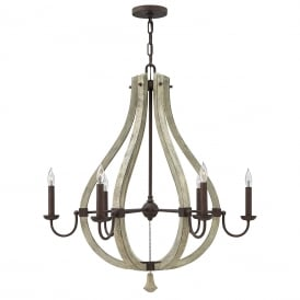 HK/MIDDLEFIELD6 Hinkley Middlefield 6 Light Chandelier Pendant with Iron Rust Finish