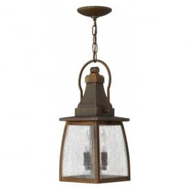 HK/MONTAUK CHAIN Hinkley Montauk 2 Light Solid Brass Outdoor Ceiling Lantern in a Sienna Finish