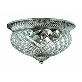 HK/PLANT/F/L PL Hinkley Plantation 3 Light Flush Ceiling Fitting in Polished Antique Nickel Finish