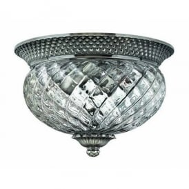 HK/PLANT/F/S PL Hinkley Plantation 2 Light Flush Ceiling Fitting in Polished Antique Nickel Finish