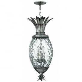 HK/PLANT4/P PL Hinkley Plantation 4 Light Pineapple Ceiling Pendant in Polished Antique Nickel Finish