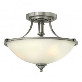 HK/TRUMAN/SF Hinkley Truman 3 Light Semi-Flush Uplighter Style Ceiling Fitting in Antique Nickel Finish