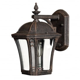 HK/WABASH2/S Wabash Single Light Small Wall Lantern in Distressed Mocha Finish with Clear Glass