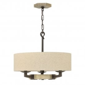 HK/WYATT/3P Wyatt 3 Light Ceiling Pendant in Wood and Iron Rust Finish Complete with Shade