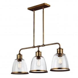 Hobson 3 Light Ceiling Bar Pendant in Aged Brass Finish Complete with Seeded Glass Shades