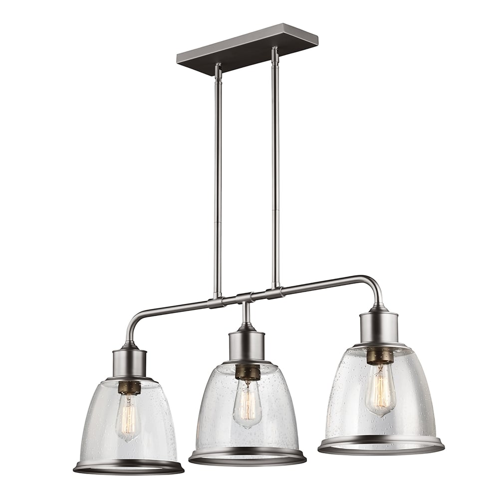 Elstead Lighting Hobson 3 Light Ceiling Bar Pendant in Satin Nickel ...