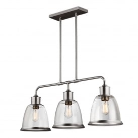 Hobson 3 Light Ceiling Bar Pendant in Satin Nickel Finish Complete with Seeded Glass Shades