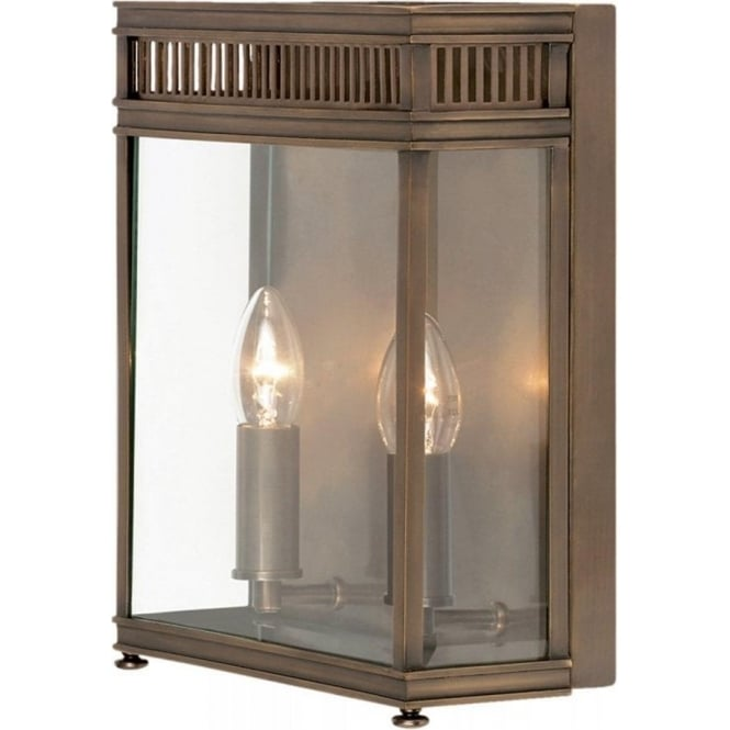 Holborn large 2 light solid brass outdoor wall lantern in a dark bronze finish