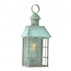 HYDE PARK VERDI Hyde Park Single Light Solid Brass Outdoor Lantern in Verdigris