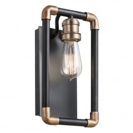 Imahn Single Light Wall Fitting in Black and Natural Brass Finish