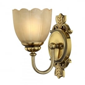 Isabella Single Halogen Light Bathroom Wall Fitting Made of Solid Brass in Burnished Brass Finish