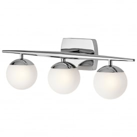 Jasper 3 LED Wall Fitting in Polished Chrome Finish with Satin Etched Opal Globes