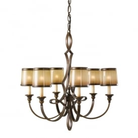 Justine 6 Light Chandelier in Astral Bronze Finish