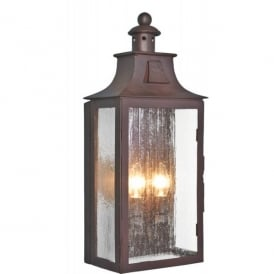 Kendal 2 Light Wrought Iron Flush Wall Lantern in an Old Bronze Finish