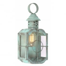 KENNINGTON VERDI Kennington Single Light Solid Brass Outdoor Wall Lantern in a Verdigris Finish