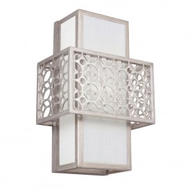 Kenny Single Light Wall Fitting in Sunrise Silver Finish with White Linen Shade