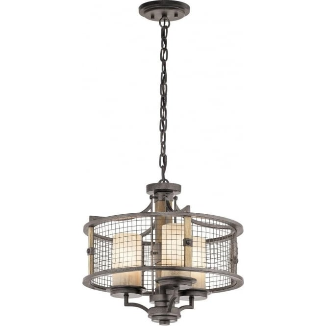 Kichler ahrendale 3 light duo mount ceiling pendant in anvil iron finish