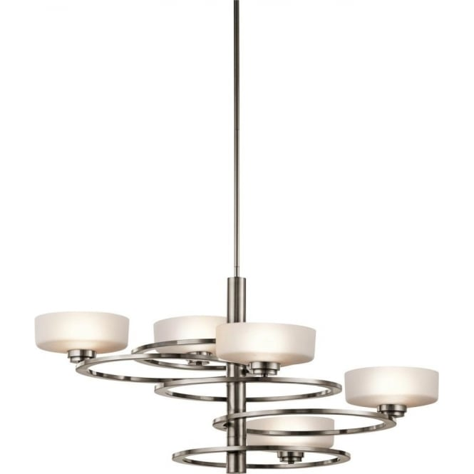 Kichler aleeka 5 light halogen chandelier in classic pewter finish with opal glass shades