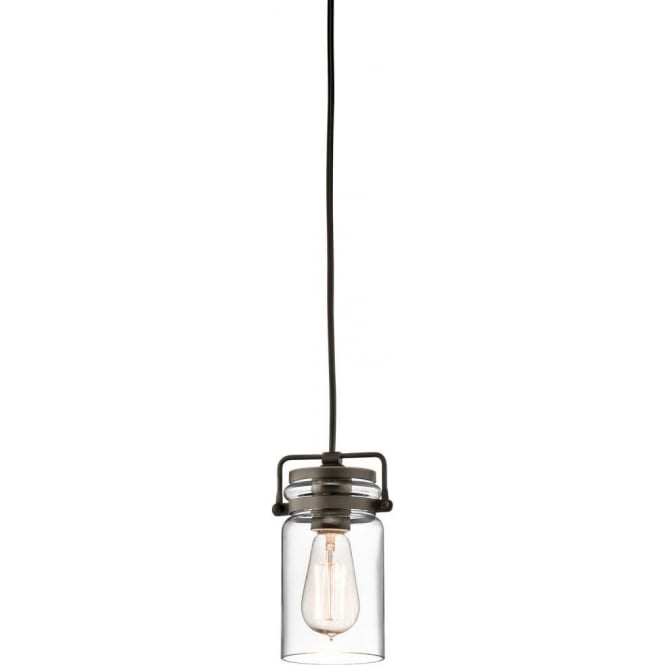 Kichler brinley single light ceiling pendant in olde bronze finish with clear glass shade