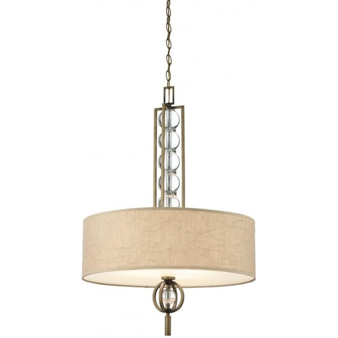 Kichler celestial 3 light ceiling pendant in cambridge bronze finish with fabric and glass shade