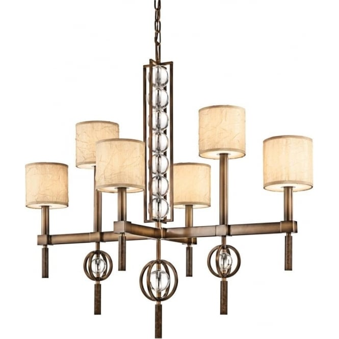 Kichler celestial 6 light ceiling chandelier in cambridge bronze finish with fabric and glass shade