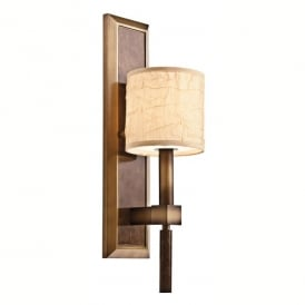 Kichler Celestial Single Light Wall Fitting In Cambridge Bronze Finish With Fabric And Glass Shade