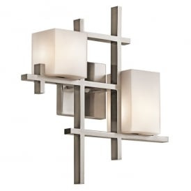 Kichler City Lights 2 Light Halogen Wall Fitting In Classic Pewter Finish With Opal Glass Shades