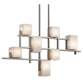 Kichler City Lights 7 Light Halogen Linear Ceiling Chandelier In Classic Pewter Finish With Opal Glass Shades