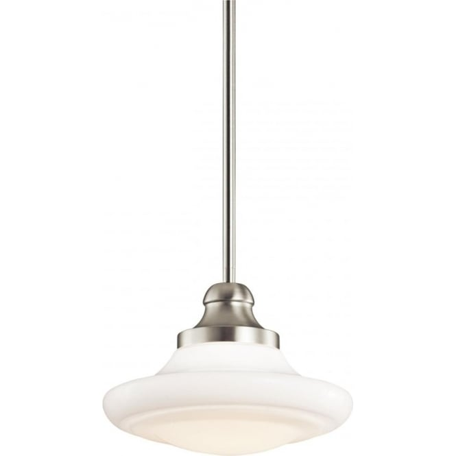 Kichler keller single light duo mount medium ceiling pendant in brushed nickel finish