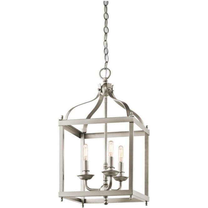 Kichler larkin 3 light ceiling pendant in brushed nickel finsh
