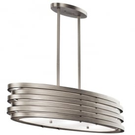 Kichler Roswell 3 Light Over Island Ceiling Pendant In Brushed Nickel Finish