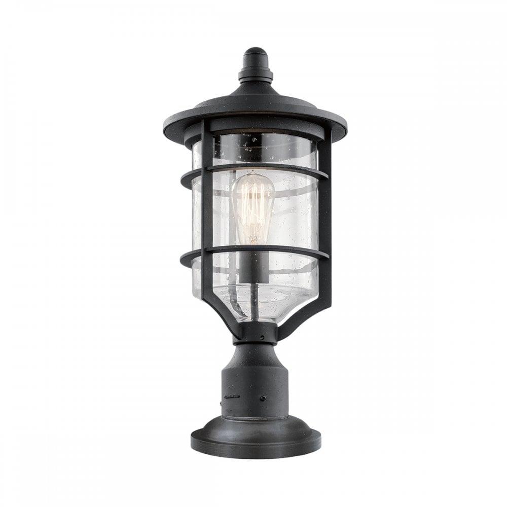 Warwick Pedestal Lantern Light Black: Elstead Lighting Kichler Royal Marine Outdoor Single Light
