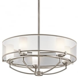 Kichler Saldana 5 Light Halogen Ceiling Fitting In Classic Pewter Finish With Opal Glass Shade