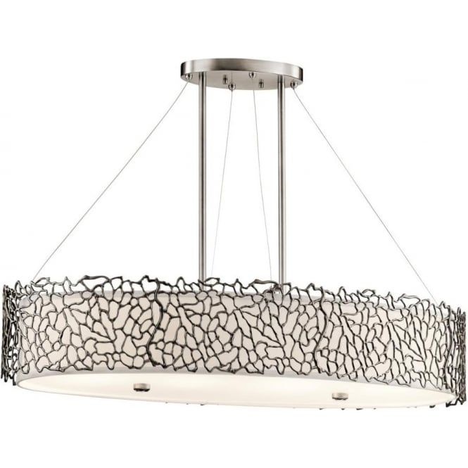 Kichler silver coral 4 light over island ceiling fitting in classic pewter finish