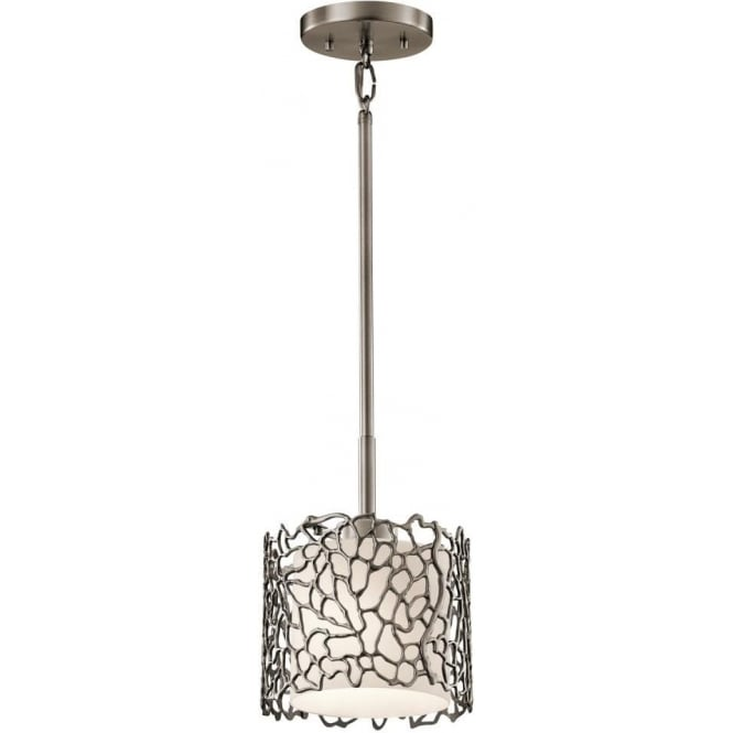 Kichler silver coral single light ceiling mini pendant in classic pewter finish