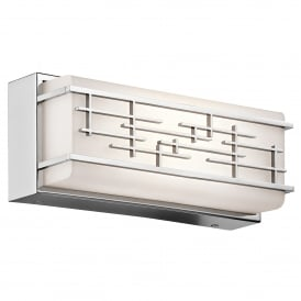 Kichler Zolon Small Bathroom Wall Fitting in Polished Chrome Finish With Opal Glass Shade