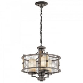 KL/AHRENDALE3 Kichler Ahrendale 3 Light Duo Mount Ceiling Pendant In Anvil Iron Finish