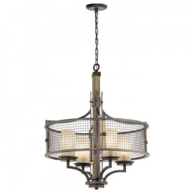 KL/AHRENDALE4 Kichler Ahrendale 4 Light Ceiling Pendant In Anvil Iron Finish