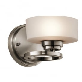 KL/ALEEKA1 Kichler Aleeka Single Light Halogen Wall Fitting In Classic Pewter Finish With Opal Glass Shade
