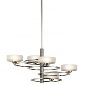 KL/ALEEKA5B Kichler Aleeka 5 Light Halogen Chandelier In Classic Pewter Finish With Opal Glass Shades