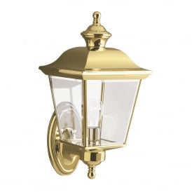 KL/BAY SHORE1/M Bay Shore Outdoor Single Light Medium Wall Fitting in Polished Solid Brass Finish with Clear Glass