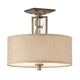 KL/CELESTIAL/SF Kichler Celestial 3 Light Semi Flush Ceiling Fitting In Cambridge Bronze Finish With Fabric And Glass Shade